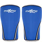 Maximo Fitness Medium, Blue: Knee Sleeves (1 Pair) - Superior Quality, 7 mm Neoprene Compression Knee Supports - Perfect for CrossFit, Weight lifting, Powerlifting, Running and all Sports - Ideal for Men & Women - 2 Year Warranty