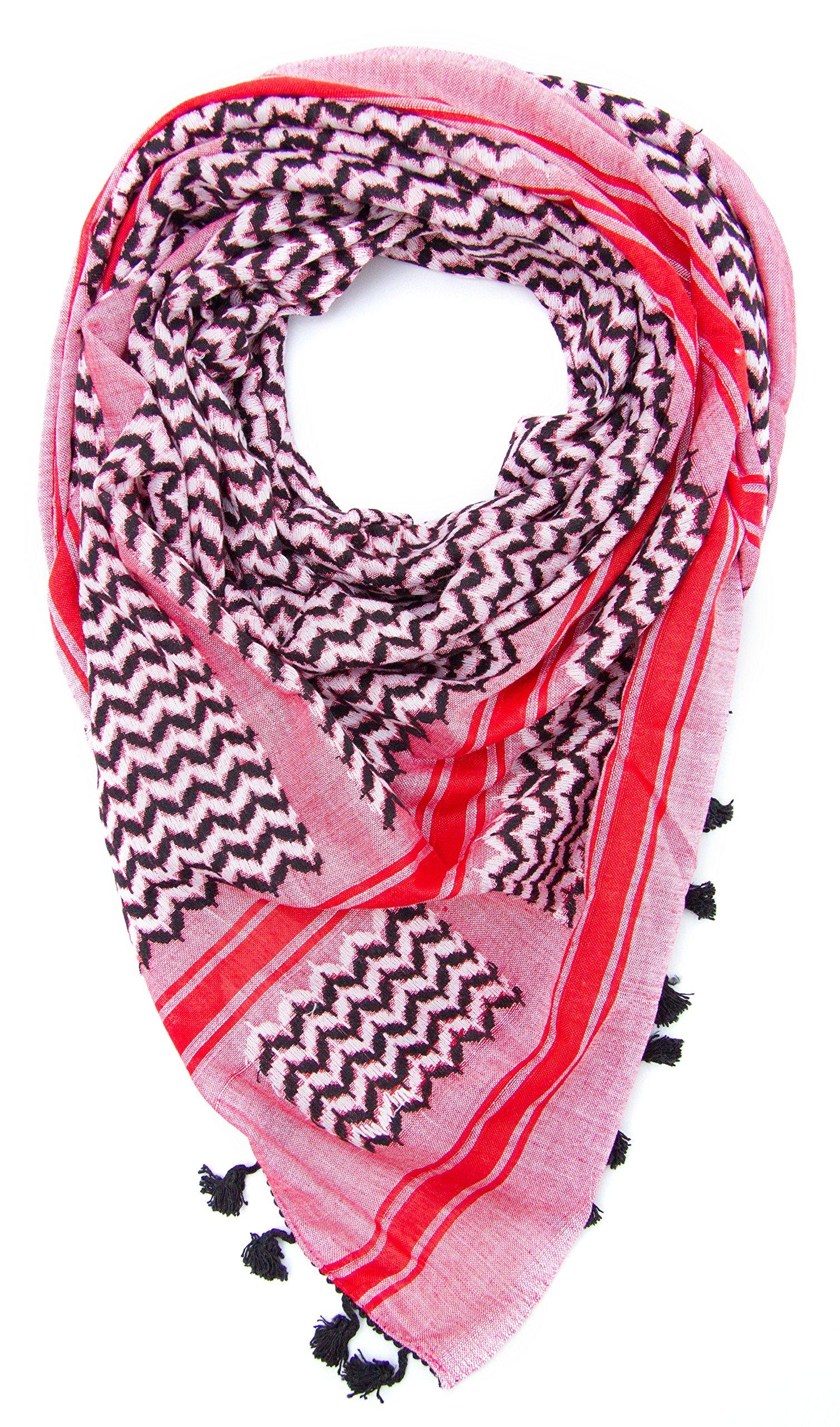 Hirbawi Premium Arabic Scarf 100% Cotton Shemagh Keffiyeh 47''x47'' Arab Scarf (Pink Zahra) Made in Palestine by Hirbawi (Image #9)