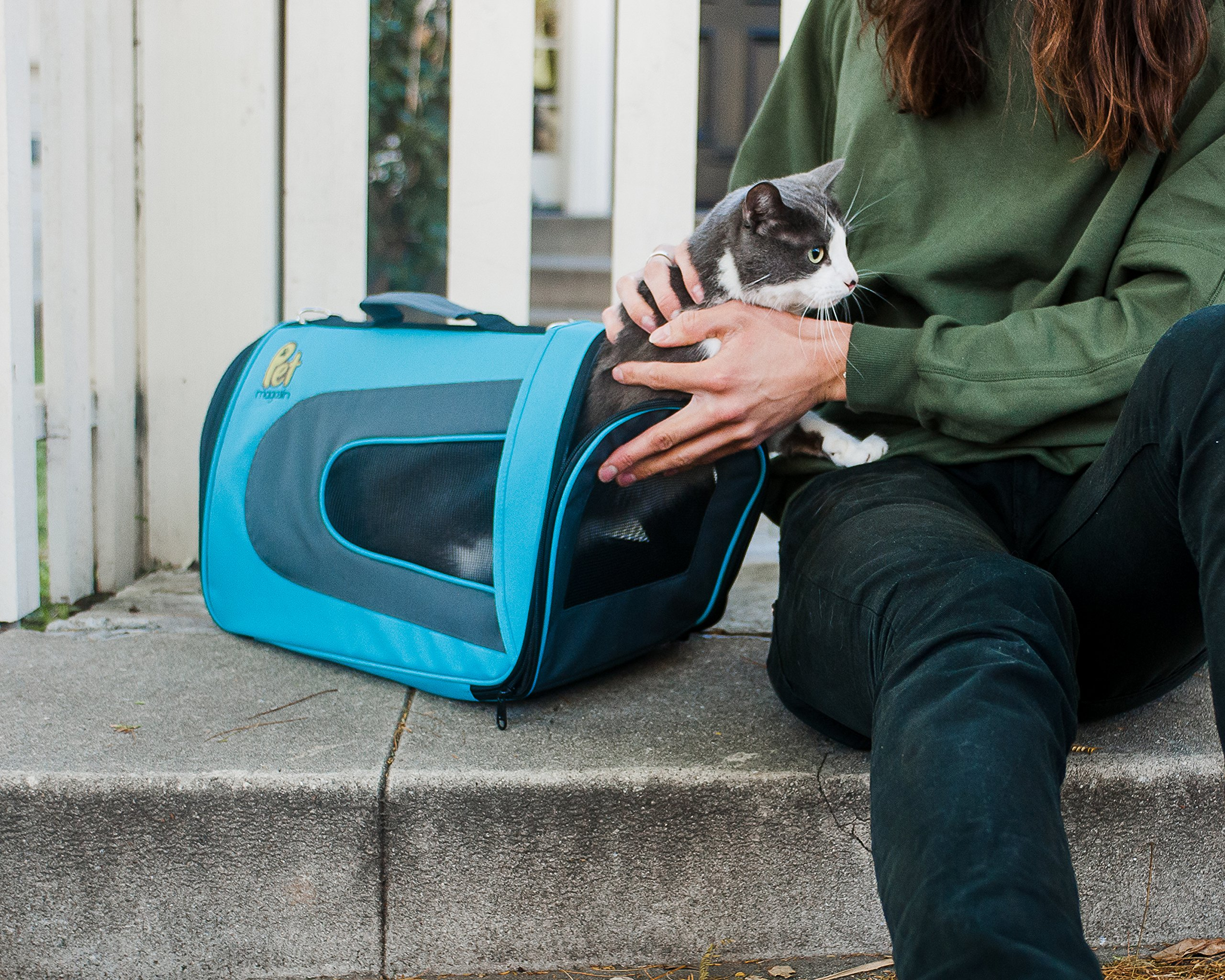 Pet Magasin Soft-Sided Pet Travel Carrier (Airline Approved) for Cats, Small Dogs, Puppies and Other Pets by (Large, Blue) by Pet Magasin (Image #6)