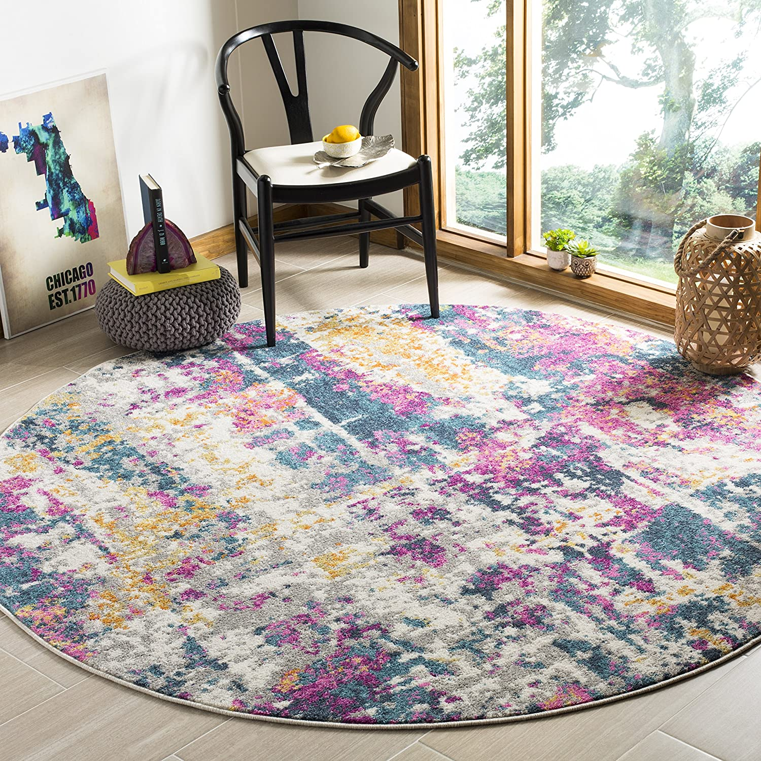 Safavieh Madison Collection MAD143B Ivory and Blue Modern Bohemian Chic Abstract Area Rug 3 x 5 MAD143B-3