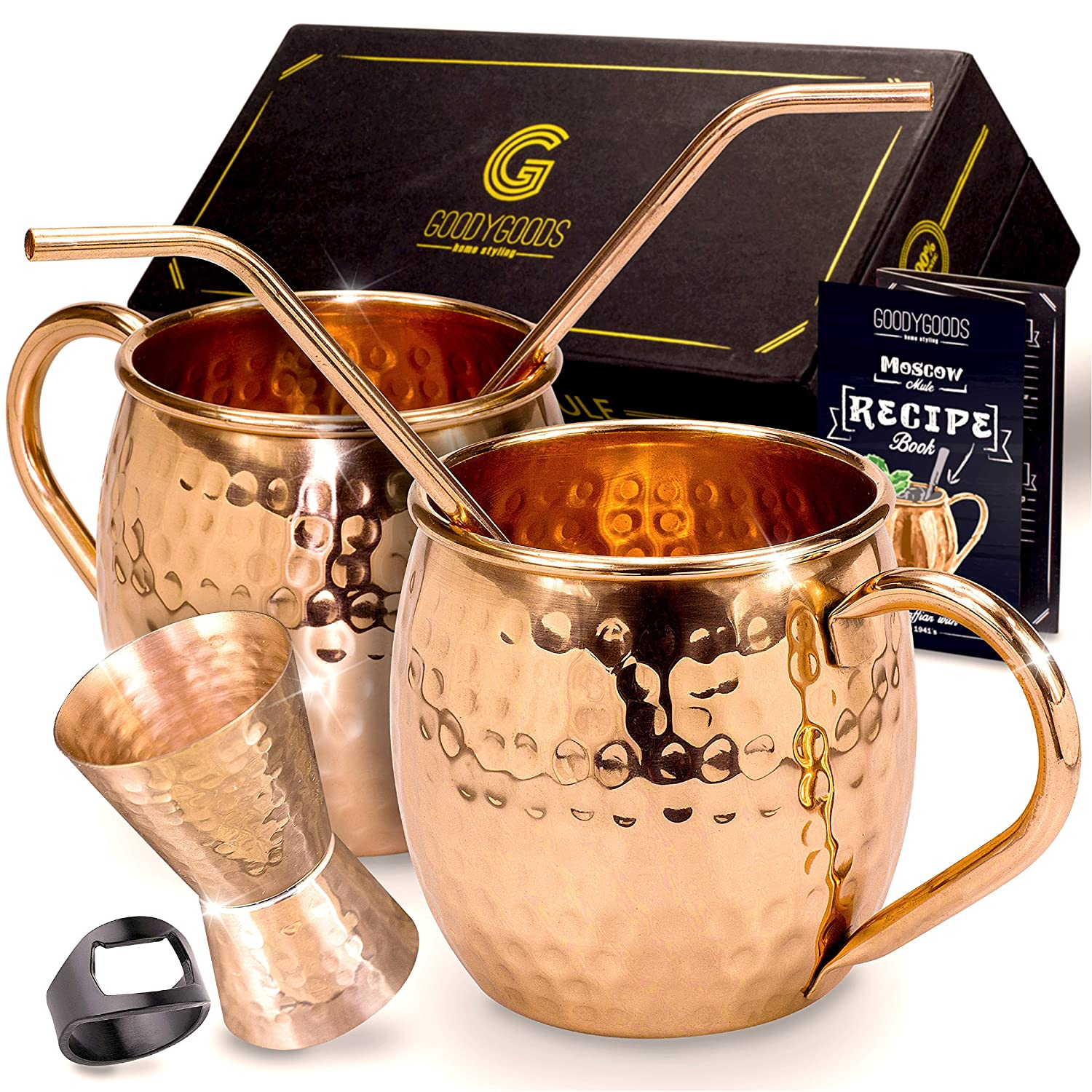 Magnificent Moscow Mule Copper Mugs: Make Any Drink Taste Much Better! 100% Pure Solid Copper His & Hers Gift Set- 2 Hammered 16 OZ Copper Caps 2 Unique Straws, Jigger & Recipe Booklet! (Black, 16oz)