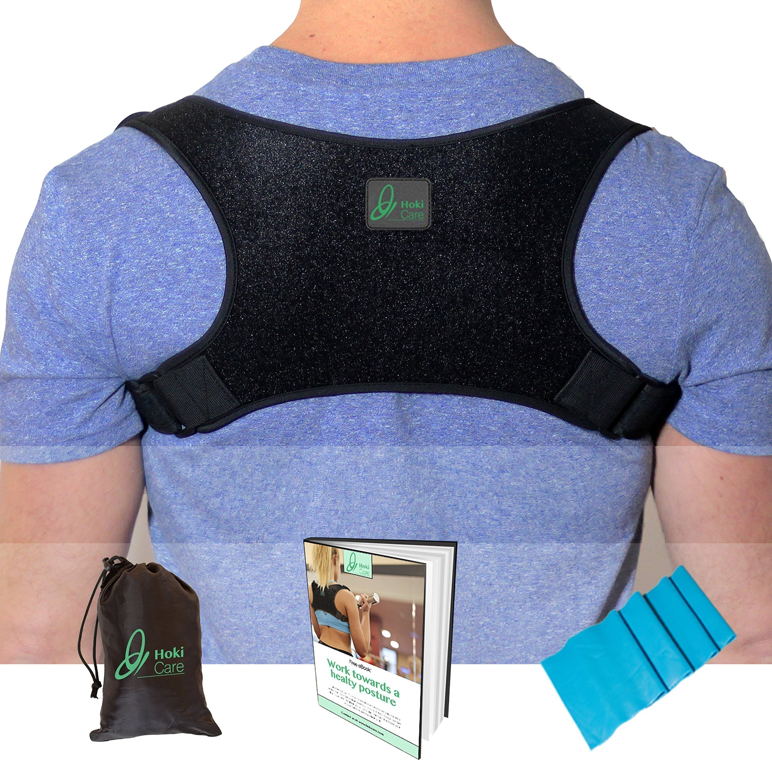 Hoki Care Posture Corrector Device For Men & Women | Upper Back Brace Thoracic Spine Support To Prevent Slouching | Comfortable & Invisible Under Clothes | Discreet One Size Fits All Design |