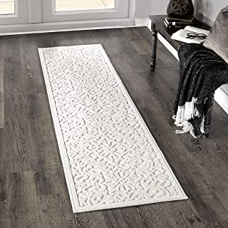 "product image for Orian Rugs Boucle Collection 397062 Indoor/Outdoor High-Low Biscay Runner Rug, 1'11"" x 7'6"", Natural Ivory"