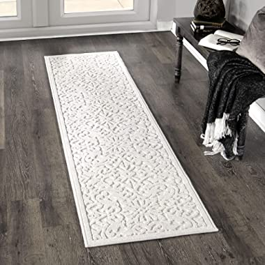 Orian Rugs Boucle Collection 397062 Indoor/Outdoor High-Low Biscay Runner Rug, 1'11  x 7'6 , Natural Ivory