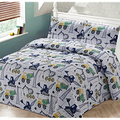 Better Home Style White Yellow Green Blue Construction Vehicles Kids/Boys Coverlet Bedspread Quilt Set with Pillowcases and Cement Mixers Cranes and Bulldozer Designs # 2020120 (Queen/Full): Kitchen & Dining