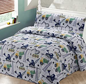 Better Home Style White Yellow Green Blue Construction Vehicles Kids/Boys Coverlet Bedspread Quilt Set with Pillowcases and Cement Mixer Cranes and Bulldozer Designs # 2019120 (Twin)