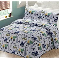 Better Home Style White Yellow Green Blue Construction Vehicles Kids/Boys Coverlet Bedspread Quilt Set with Pillowcases and Cement Mixer Cranes and Bulldozer Designs # Crane (Twin)