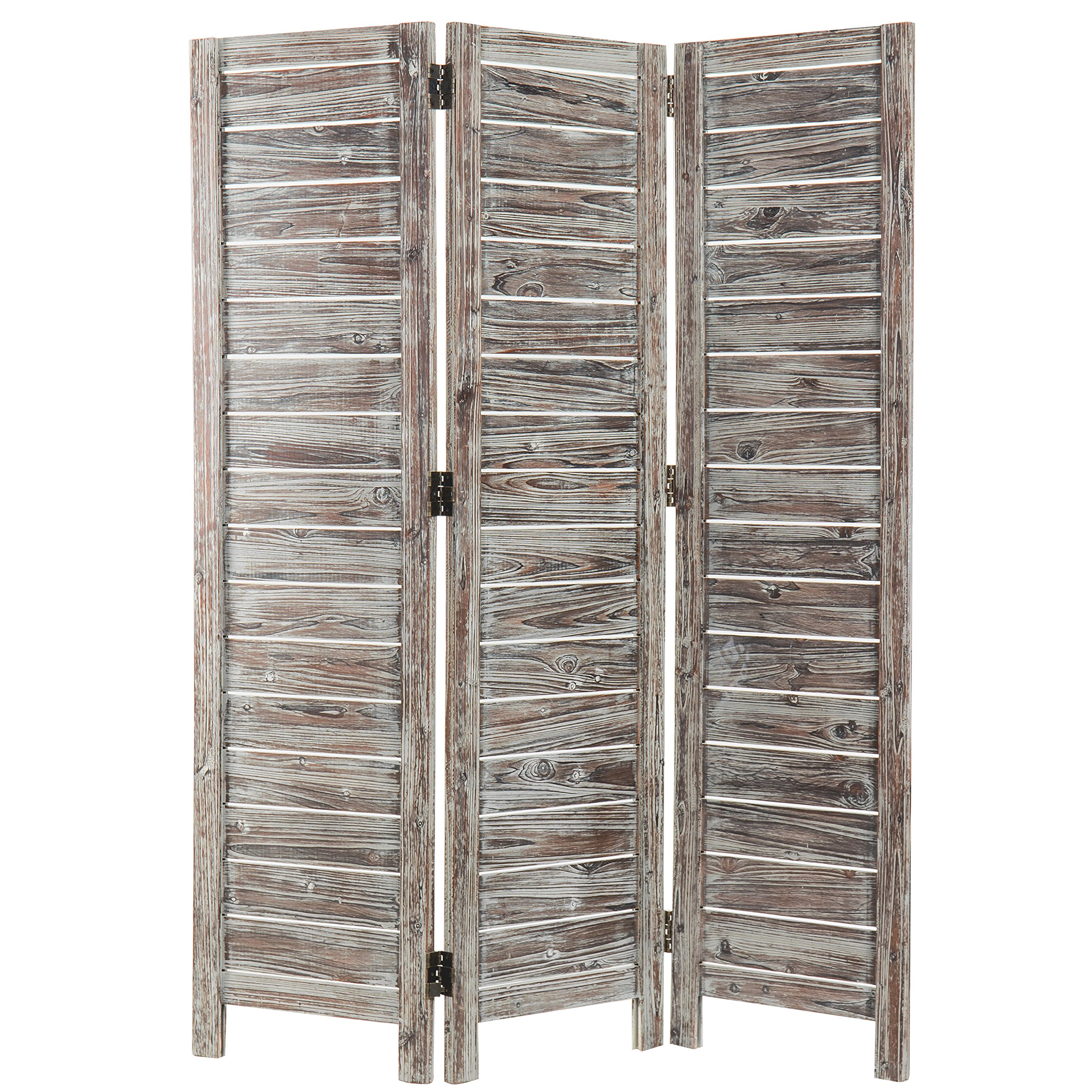 MyGift 6-Foot Barnwood Gray Shiplap-Style Room Divider with Dual-Action Hinges