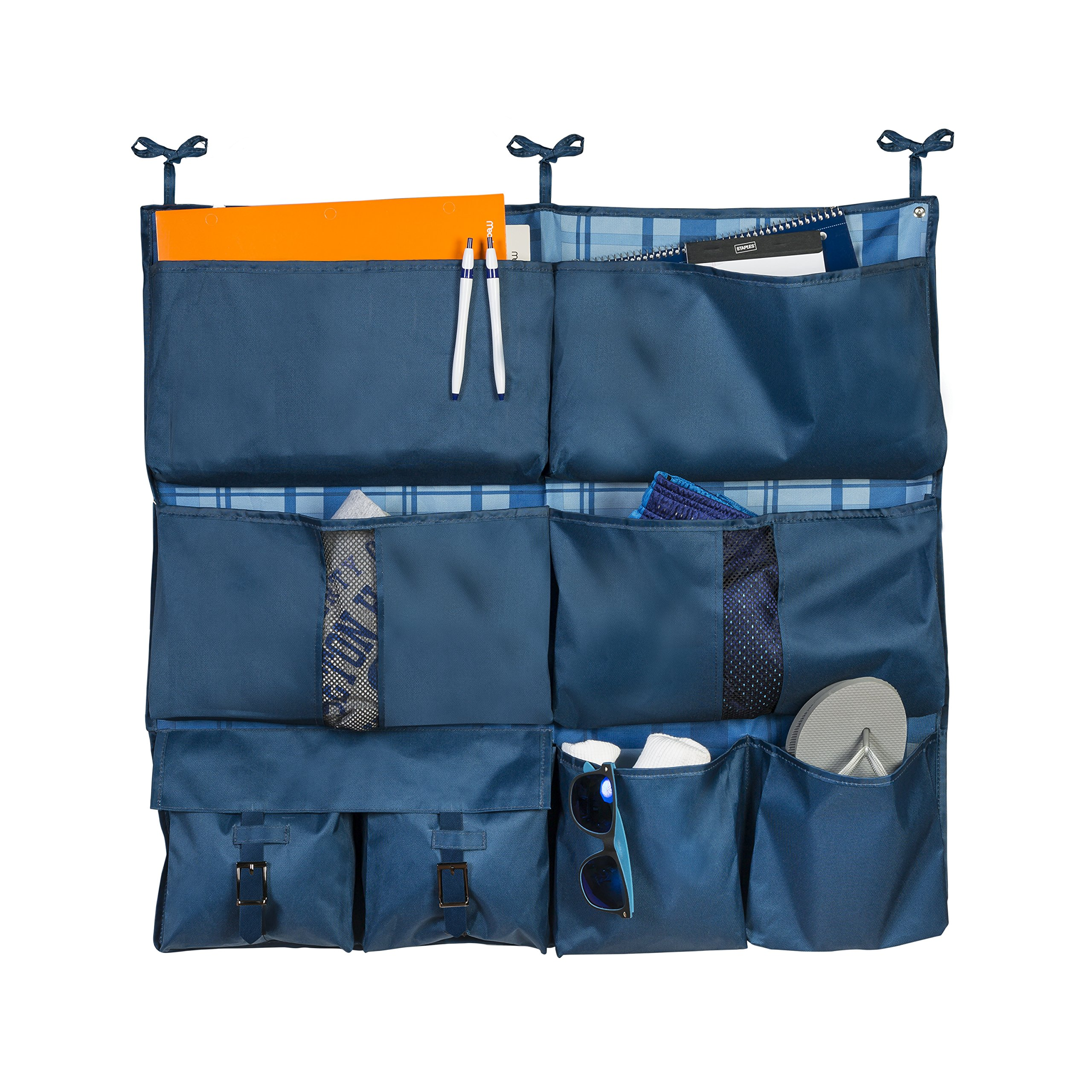 Honey-Can-Do BTS-01835 2-in-1 Bed Organizer, Blue