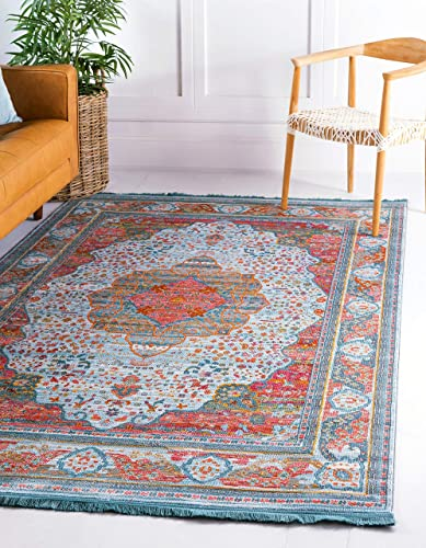 Unique-Loom-Baracoa-Collection-Bright-Tones-Vintage-Traditional-Light-Blue-Area-Rug