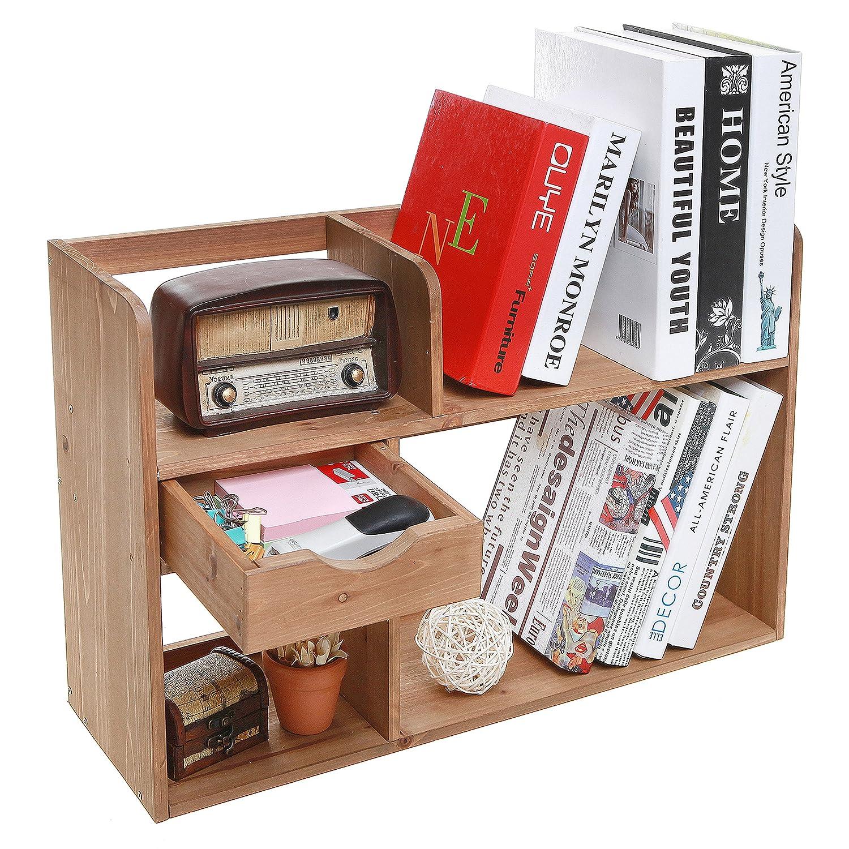 Counter Top Desks Amazoncom Freestanding Rustic Style Wood 4 Shelf Compartment