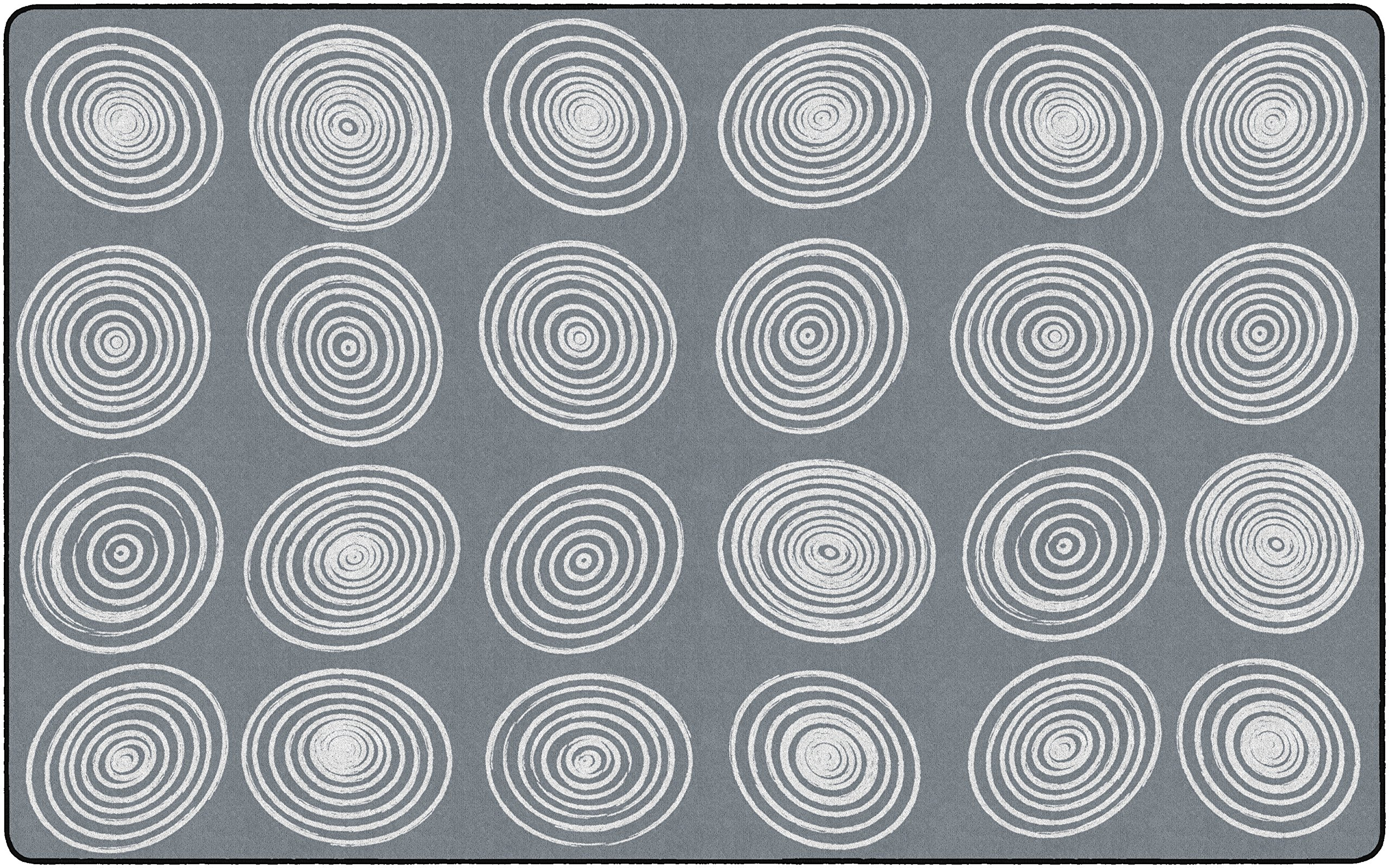 Flagship Carpets FE415-44A Circles Grey & White (Seats 24), Children's Classroom Seating Rug, Rectangle, 7'6''x12' by Flagship Carpets