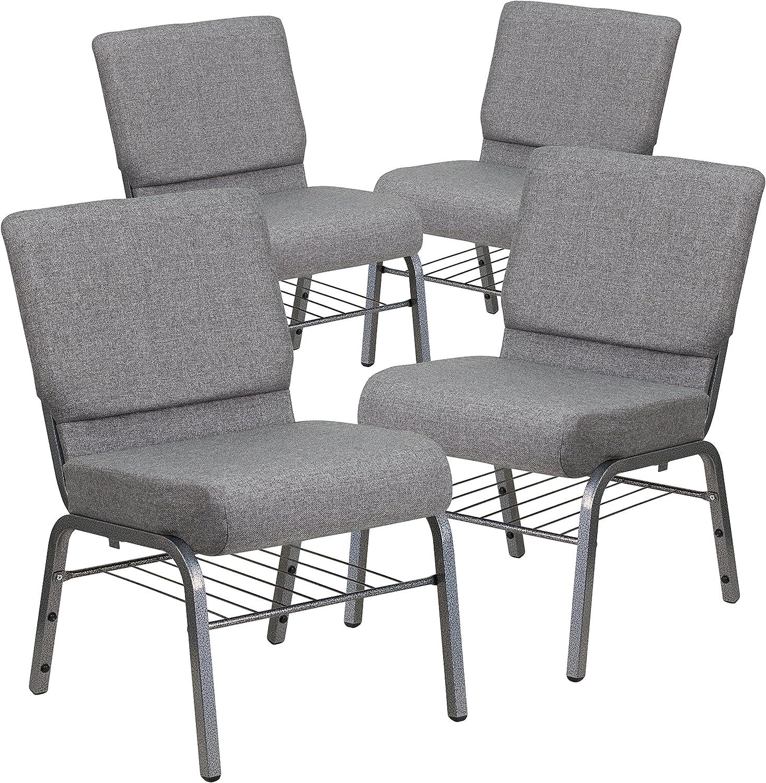 10 PACK 21/'/' Wide Dark Gray Fabric Church Chair w// Book Rack /& Silver Vein Frame