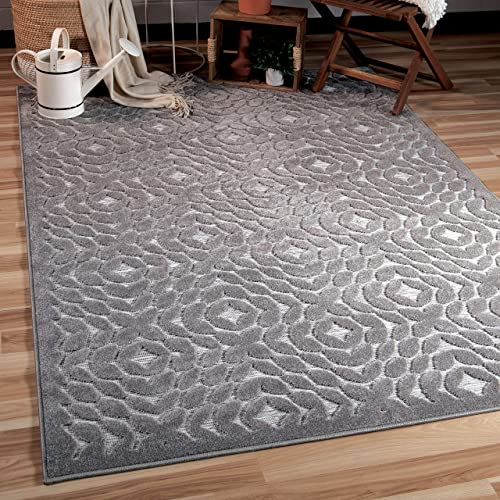 Orian Rugs Boucle High-Low Indoor Outdoor Sandpiper Area Rug, 9 x 13 , Silverstone