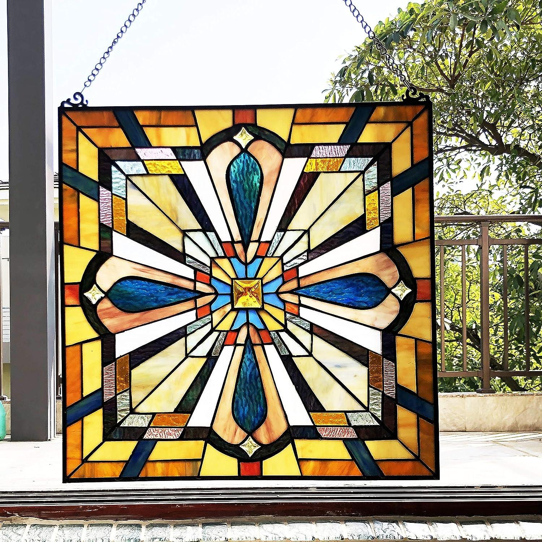 Mission-Design//Look Glass Window Panel//suncatcher Multi Color Traditional Square Arts Crafts Includes Hardware