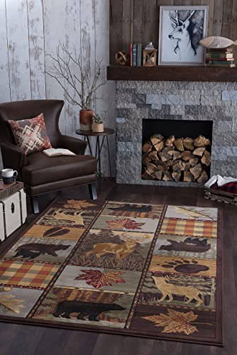 Colorblock Wildlife Novelty Lodge Pattern Multi-Color Rectangle Area Rug