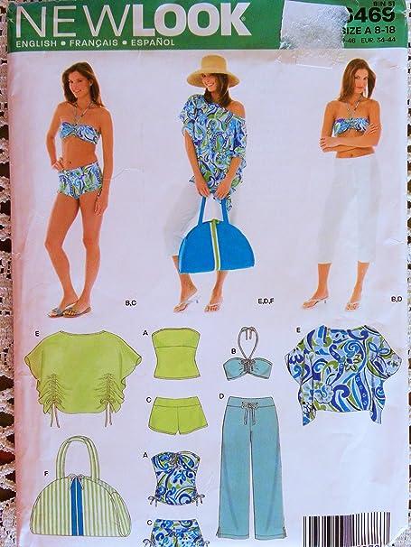 9626105bd5 New Look 6469 Misses Swim/Beach Wardrobe Sewing Pattern Size 8 to 18  Bikini, Pants, Top, Tank, Bags: Amazon.co.uk: Kitchen & Home