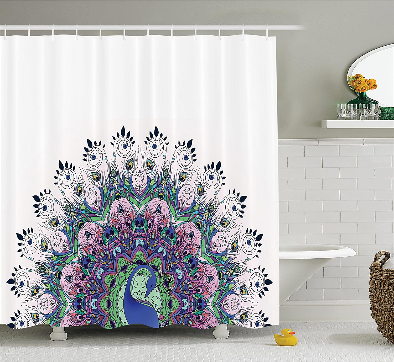 Polyester Fabric Bathroom Shower Curtain Peacock Bird In Pink Green Navy Purple