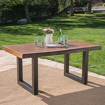 Etonnant Greal Deal Furniture Ishtar Outdoor Fuax Live Edge Antique Teak Finish Light  Weight Concrete Dining Table