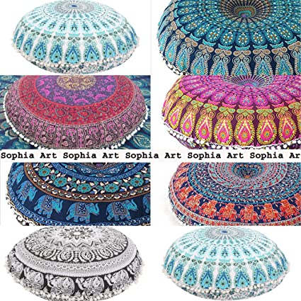 Sophia Art 5 pcs lot 32 Hippie Mandala Wholesale lot Floor Pillow Cushion Seating Throw Cover Pouf Cover Round Bohemian Yoga Decor Floor Cushion Case 32 Multi Color