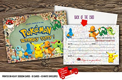 Lot De 10 Cartes D Invitation Pokemon Avec 10 Enveloppes Gratuites 20 Amazon Fr Cuisine Maison