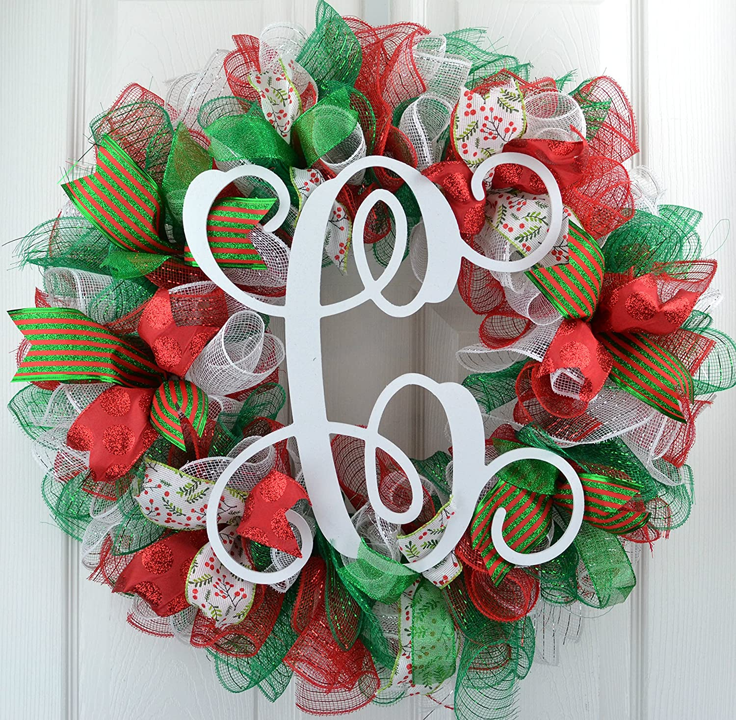 Red And White Christmas Wreath.Amazon Com Christmas Wreaths For Sale Monogram Christmas