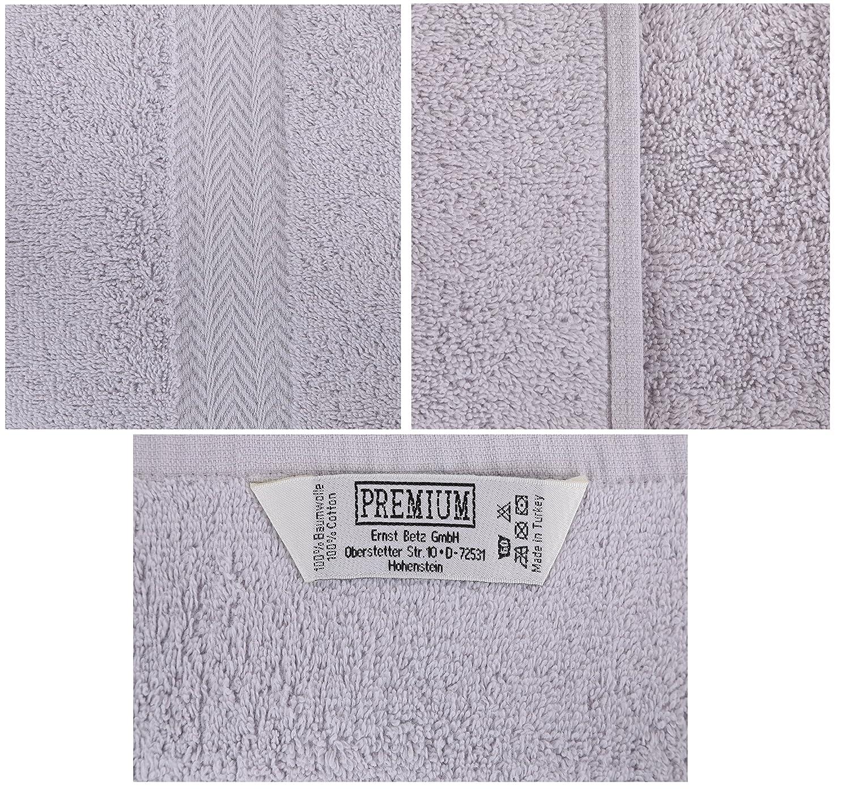 BETZ Lot de 10 Serviettes d/ébarbouillettes Taille 30x30 cm 100/% Coton Premium Couleur Gris argent/é et Beige