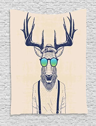 Ambesonne Antlers Tapestry, Illustration of Deer Dressed up Like Cool Hipster Fashion Creative Fun Animal, Wall Hanging for Bedroom Living Room Dorm Decor, 60 X 80 , Beige Black