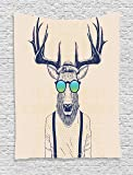 Animal Tapestry Antlers Decor by Ambesonne, Illustration of Deer Dressed Up Like Cool Hipster Fashion Creative Fun Animal Theme Art Print, Bedroom Living Room Dorm Wall Hanging Tapestry, Beige Black