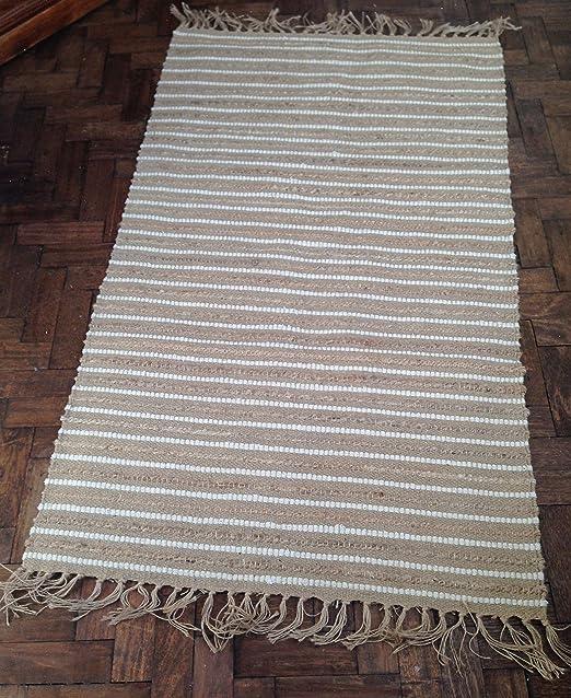 Florencia Lilly Casa Natural Yute y algodón alfombra para pasillo Runner Mat Alfombra 90 x 150 cm: Amazon.es: Hogar