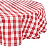 """DII 100% Cotton, Machine Washable, Dinner, Summer & Picnic Tablecloth 70"""" Round, Tango Red Check, Seats 4 People"""