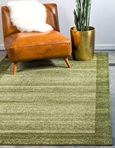 Unique Loom Del Mar Collection Contemporary Transitional Light Green Area Rug (7' 0 x 10' 0)