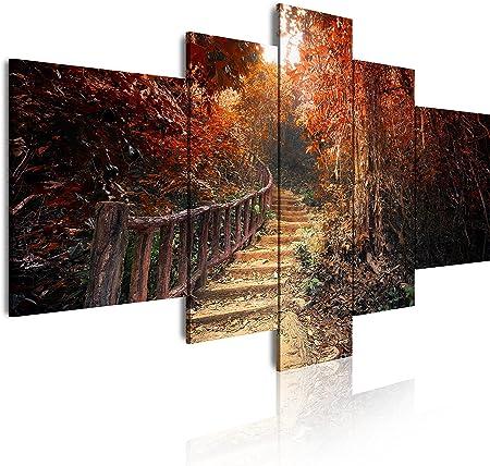 Dekoarte 195 - Cuadro moderno en lienzo de 5 piezas, naturaleza paisaje arboles en otoño con escalera de madera, 180x85cm: Amazon.es: Hogar