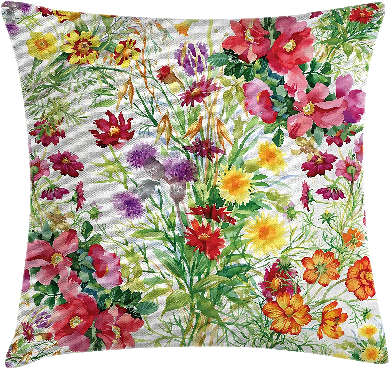 """Ambesonne Flower Throw Pillow Cushion Cover, Floral Design Garden Like Romantic Theme Image with Leaves Rose Blooms Daisies Image, Decorative Square Accent Pillow Case, 20"""" X 20"""", Yellow Pink"""
