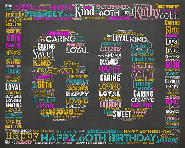 60th Birthday Gifts Gift Ideas Sixty Chalkboard Decoration