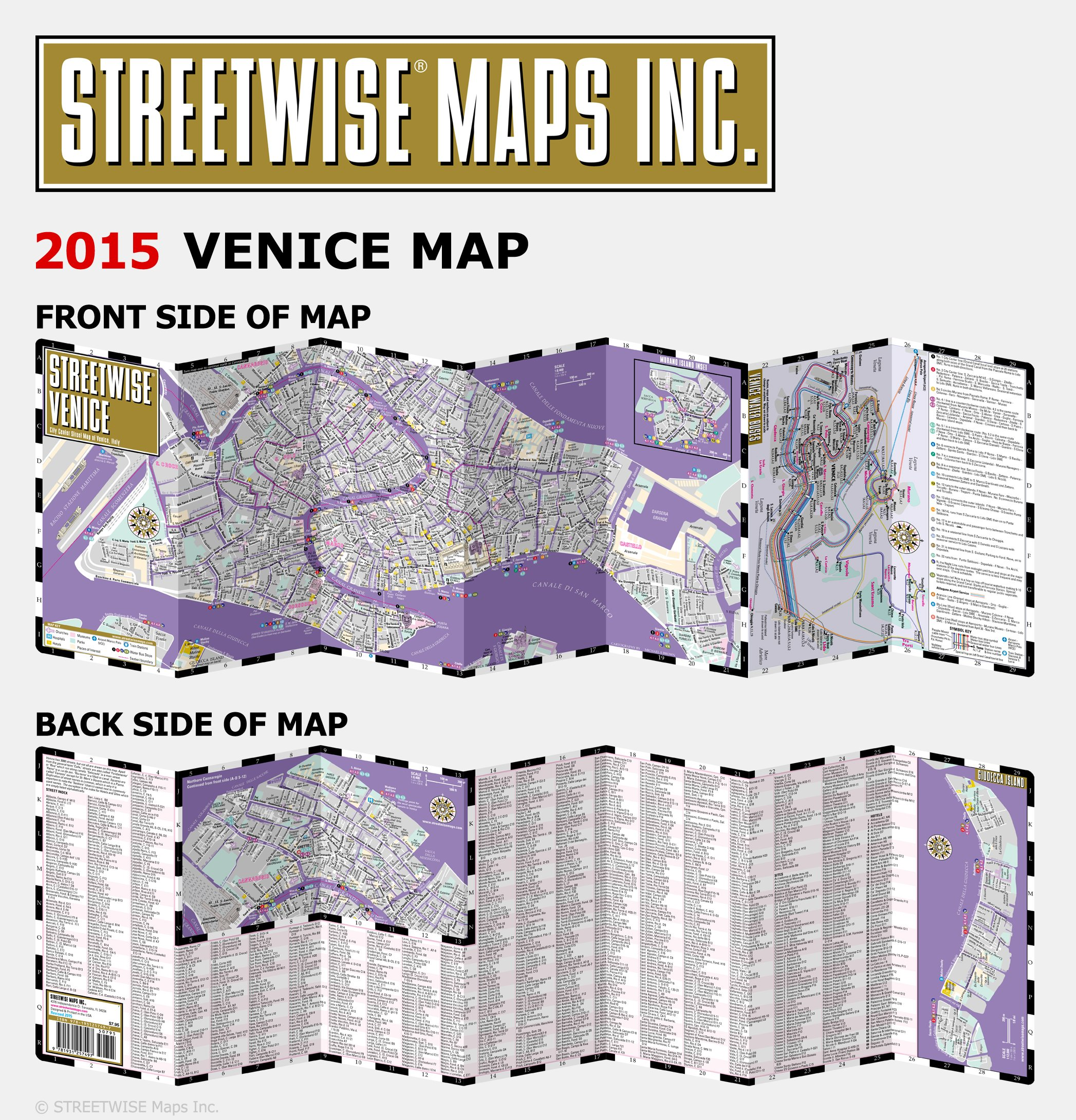 Streetwise Venice Map Laminated City Center Street Map Of Venice - Venice map image