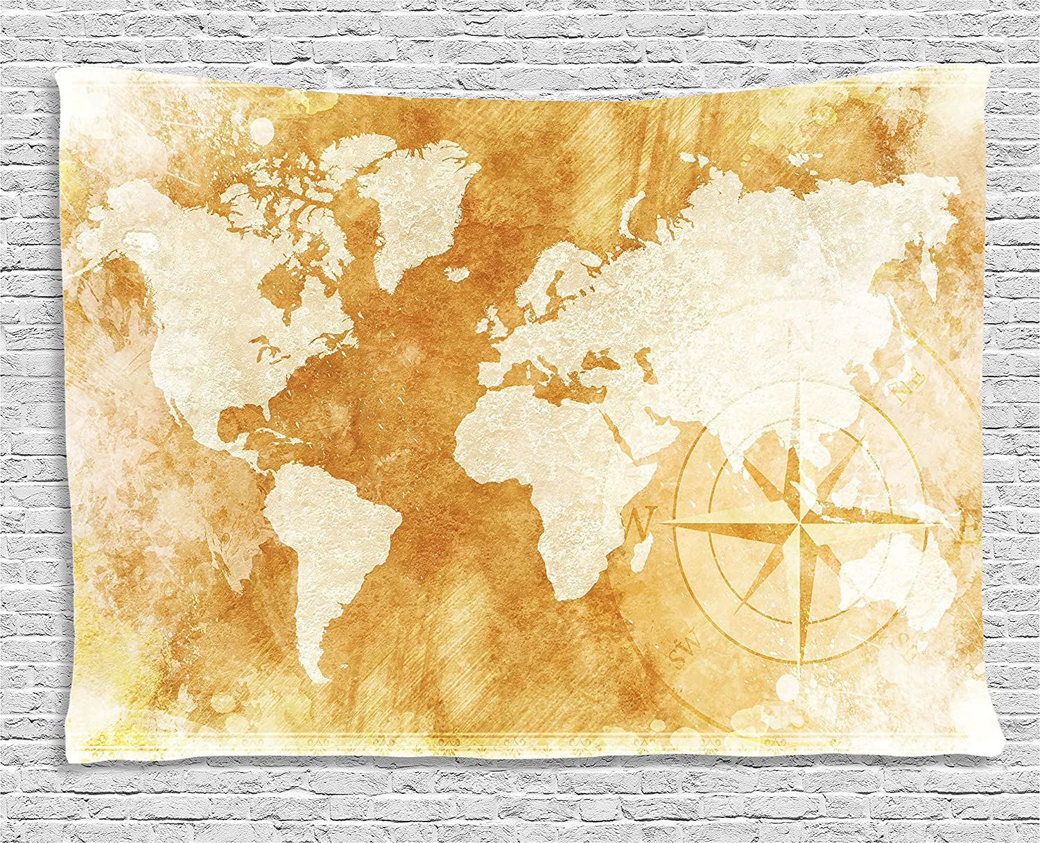Amazon.com: Ambesonne Wanderlust Decor Tapestry, Antique World Map ...