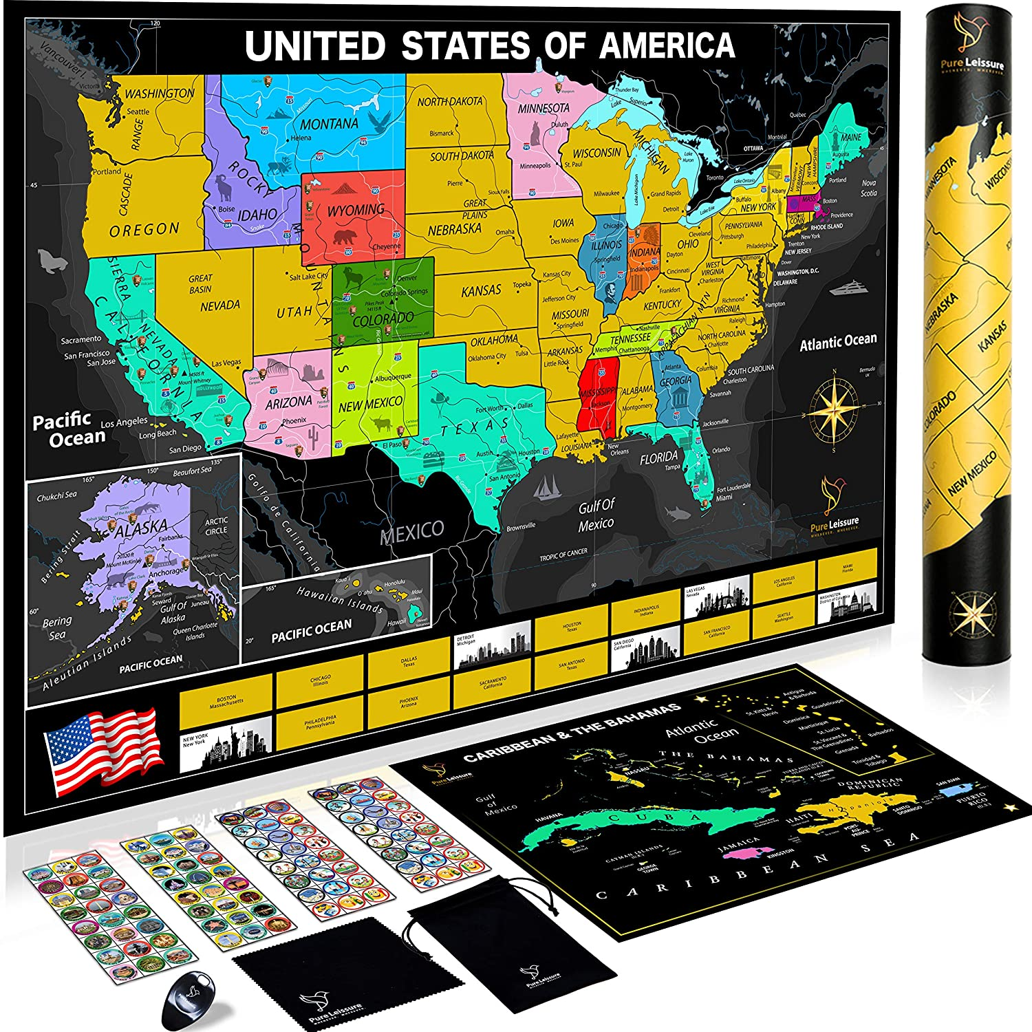 Pure Leissure Scratch Off Map of The United States - USA National Parks, 96  Unique Landmarks & Adventure Stickers to Track Travels, Deluxe Gift for US  ...