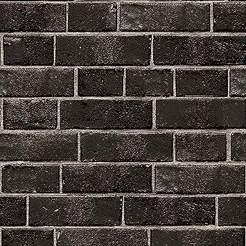 Tempaper Ebony Brick Designer Removable Peel And Stick Wallpaper Amazon Com