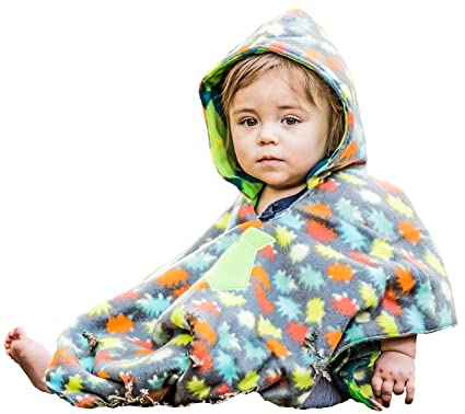 Boys Traveling Car Seat Poncho Reversible Warm Blanket Safe Use OVER Belts
