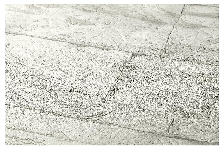 A.S Cr/éation Vliestapete Best of Wood and Stone Tapete in Stein Optik fotorealistische Steintapete Naturstein 10,05 m x 0,53 m grau wei/ß 707161 7071-61