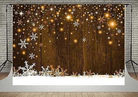 kate 7x5ft snowflake photography backdrops brown wood wall backdrop yellow lighting christmas background booth