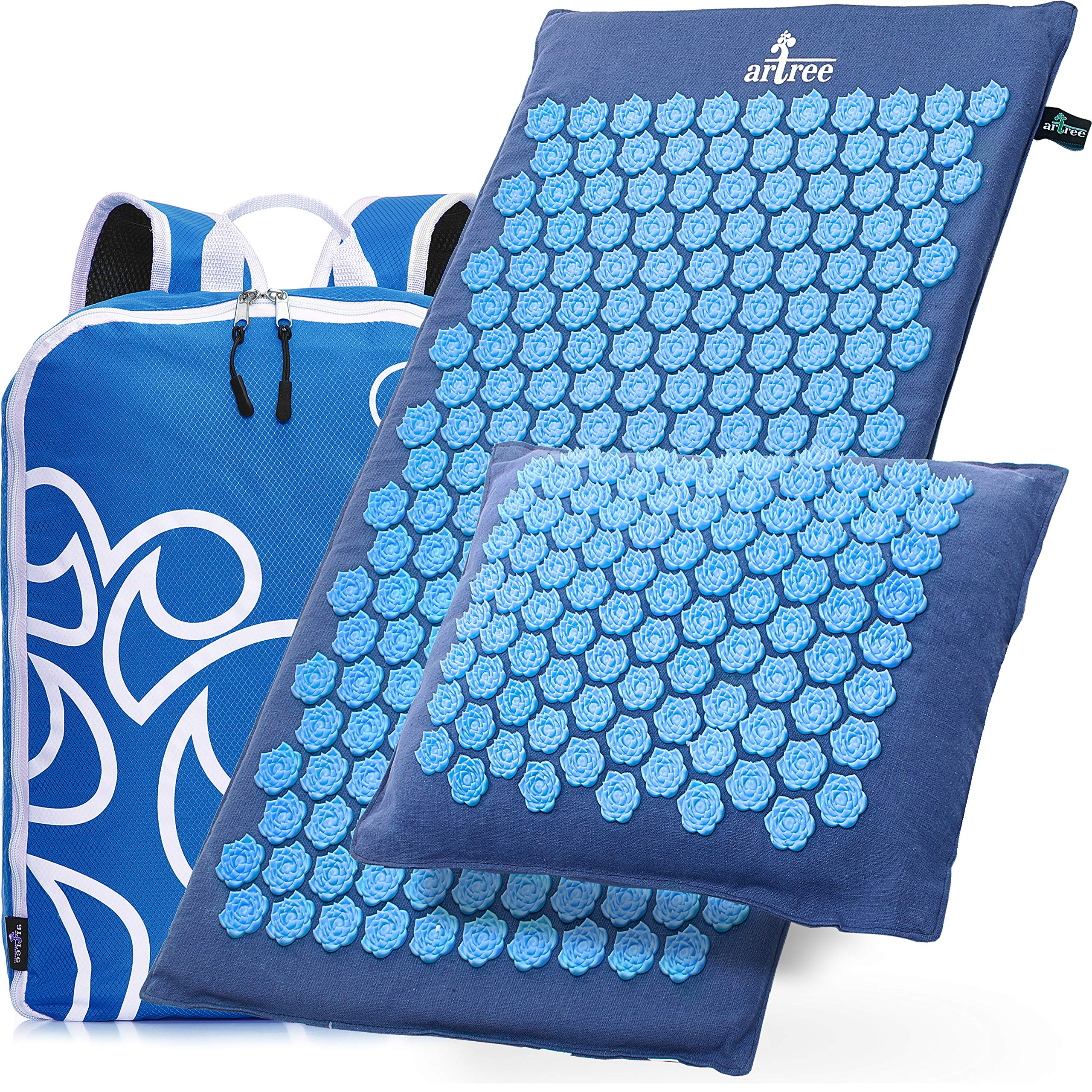 New Version Professional Acupressure Mat and Pillow Set From Organic Linen - Best Acupuncture Mat Gift - Back and Neck Pain Relief Reflexology Mat - for Women and Men - Stress and Muscle Relief (Blue) by ARTREE