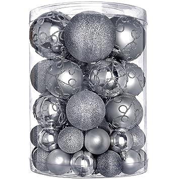 Bruchsichere Christbaumkugeln.Werchristmas Bruchsichere Plastik Christbaumkugeln 50 Stück Silber