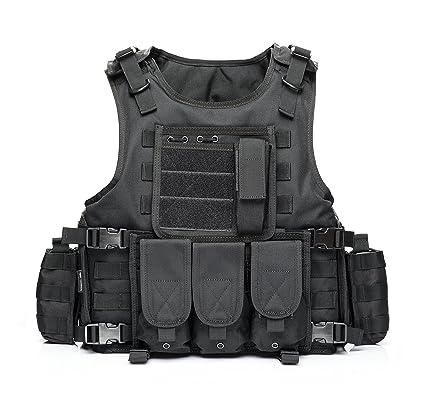 21f26f31c37e2 YAKEDA CS Game Vest Tactical Vest Outdoor Equipment Army fans field tactical  vests for men --322(black), Tactical Vests - Amazon Canada