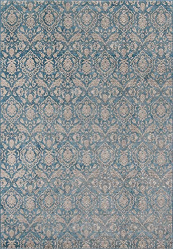 Momeni Rugs Kerman Collection, Antique Persian Inspired Traditional Area Rug, 9 3 x 12 6 , Blue