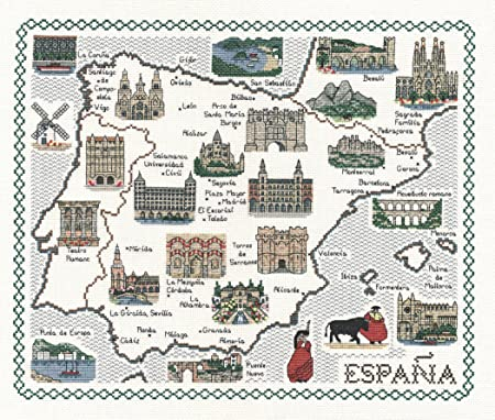 España - mapa juego de punto de cruz tela aida de 14: Amazon.es: Hogar