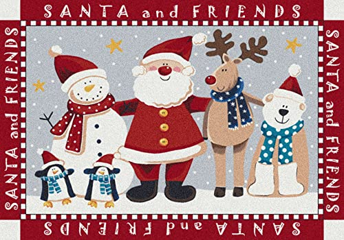 Milliken Holiday Collection Santa Friends, 3 10 x5 4 Rectangle, Indian Red