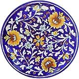 Aditya Blue Art Pottery Ceramic Decorative Wall Hanging Handmade Plate (20 cm x 20 cm x 3 cm, ABP16)