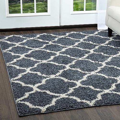 Home Dynamix Nicole Miller Synergy Elm Shag Area Rug, 7 9 x10 2, Traditional Shaggy Trellis Blue White